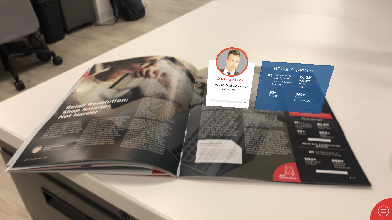 Cushman & Wakefield augmented reality experience for their print publication